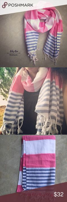 Pink, Blue, White Blanket Scarf This blanket scarf is super versatile. Pair with your favorite white tee and skinny jeans! Don't forget your booties! People have even been wearing these as shawls and using them as towels at the gym/beach, etc. This will be your favorite accessory to transition from fall to winter to spring! RRB loves offers and bundles. No trades. NWOT. ~{We are ALL beautiful.}~ Accessories Scarves & Wraps