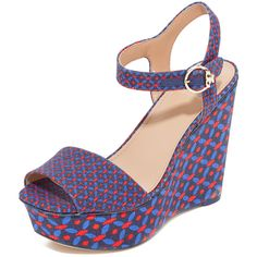 Tory Burch Haven Platform Sandals (443 AUD) ❤ liked on Polyvore featuring shoes, sandals, navy sea ocho rios, ankle wrap sandals, navy blue sandals, navy blue shoes, ankle tie sandals and platform shoes