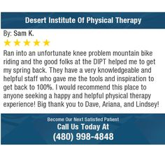 Ran into an unfortunate knee problem mountain bike riding and the good folks at the DIPT...