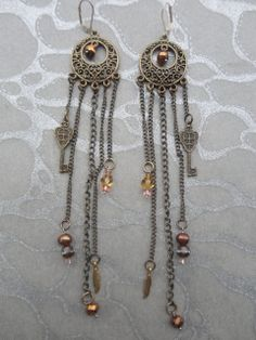 Chain Earrings  Ornate style Antiqued Brass Chains with Charms by MEDICINAdesigns, $69.99