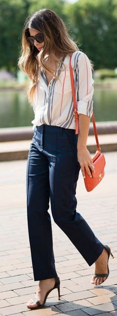 #spring #business #outfitideas |  Striped Silk Shirt + Navy Pants