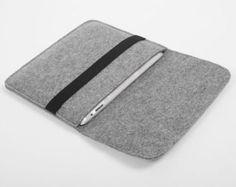 Laine feutre iPad Case, pochette, iPad Cover sac avec noir sangle élastique pour iPad1 iPad 2 3 4 le nouvel iPad-B2051