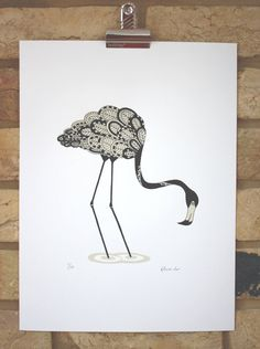 Handmade screenprint hand printed Black Flamingo (Limited edition screen print 30cm x 40cm on Etsy, 129,87zł