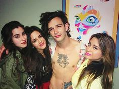 Matty (The 1975) with Lauren, Camila and Ally of Fifth Harmony last night