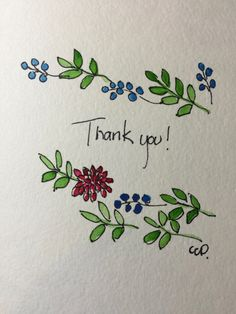 Watercolor Thank You Card / Hand Painted by gardenblooms on Etsy