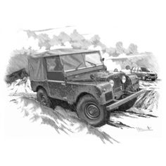 Land Rover Series1 - Personalised hand drawn car prints