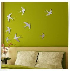 Decoration on a wall mirrorswallows flyVD08 made by GlamourClocks, $35.88