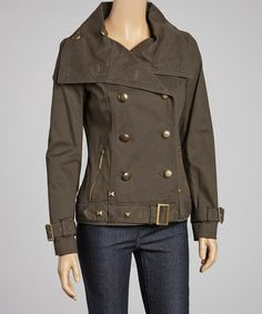 Love this Olive Pleat Double-Breasted Military Jacket by kensie on #zulily! #zulilyfinds