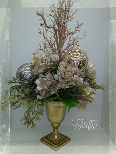 Sparkles and shimmer gold Christmas floral arrangement