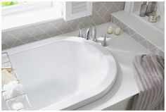 The double ended Sensuelle bath with stylish slain bath mixer Fitted Bathroom Furniture, Bath Mixer, Bathroom Colors, Corner Bathtub, Sink, Colours, Stylish, Home Decor, Sink Tops