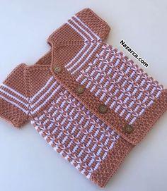 KAZ AYAĞI TUNUS BEBEK YELEĞİ BAŞINDAN SONUNA AÇIKLAMALI | Nazarca.com Tunisian Crochet, Crochet Motif, Crochet Baby, Baby Vest, Baby Cardigan, Baby Knitting Patterns, Crochet Patterns, Colored Hair Tips, Knitted Baby Clothes