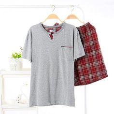 Plus Men/'s Casual Printemps Couleur Pure À Manches Courtes Confortable Maison Pyjamas Set