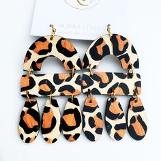 Diy Earrings, Polymer Clay Earrings, Clay Creations, Ready To Wear, Pattern, How To Wear, Brass, Posts, Wood