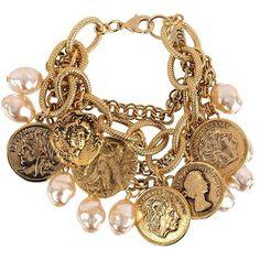 "nishi14: "" Yochi Vintage Charm Bracelet ❤ liked on Polyvore (see more vintage jewelry) """