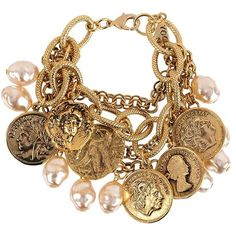 Yochi Vintage Charm Bracelet (€53) ❤ liked on Polyvore featuring jewelry, bracelets, accessories, pulseiras, pulseras, gold, yochi, vintage coin jewelry, vintage jewellery and vintage bangle