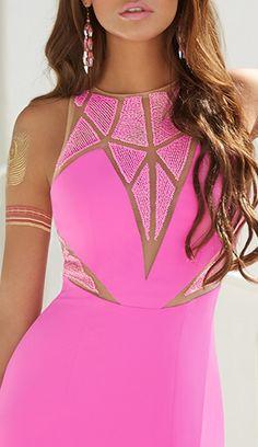 Crepe Plunge Dress With Geo Caviar Beads #camillelavie