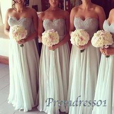 Beautiful ivory lace chiffon sweetheart dress for prom 2016, bridesmaid dress, prom dresses long #coniefox #2016prom