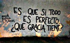 Es que si todo es perfecto, Qué gracia tiene?