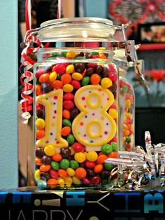 Skittles in a mason jar! Happy Birthday to Michael! - Skittles in a mason jar! Happy Birthday to Michael! 18th Birthday Party, Diy Birthday, Birthday Presents, Happy Birthday, 18th Birthday Ideas For Boys, Teenage Boy Birthday, Handmade Birthday Gifts, Birthday Games, Candy Gifts