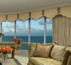 Custom window treatments line this massive window offering a lovely view. Window Cornices, Window Coverings, Curtain Designs, Curtain Styles, Home Deco Furniture, Handmade Furniture, Rustic Furniture, Furniture Design, Home Bar Decor