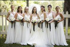 black and white bridesmaid dresses | Wedding Trend: WHITE Bridesmaid Dresses!