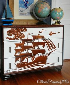 22 Ideas to Makeover a Dresser Coastal, Beach