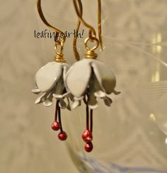 enamel flower earrings WHITE FUCSHIA by leafingearth on Etsy, $22.75 Love the beauties in this shop <3