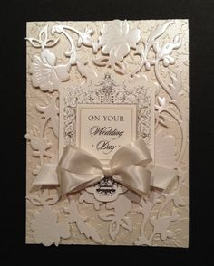 Fancy Wedding Card with Floral Ivory Pearlescent Anna Griffin Papers