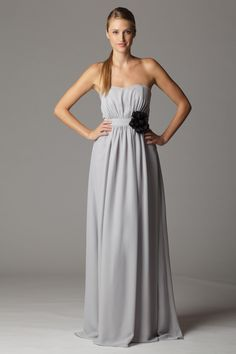 Strapless curved neckline bridesmaid dress with built in waistband.