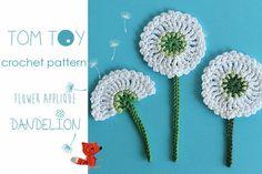 "Dandelion flower applique Crochet PATTERN by TomToy, easy crochet flower embellishment step by step tutorial ~ size 2.5"" (6 CM) in diameter ~ PURCHASED pattern - CROCHET"