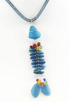 Blue Sea Glass Fish Bone Pendant Necklace - Cherry Tree Beads