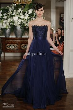 Wholesale 2013 DHgate New Sexy Cheap Strapless Navy Blue Evening Dresses Chiffon Lace Beaded Prom Dresses, Free shipping, $112.0-135.52/Piece | DHgate