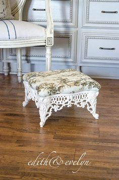 Vintage Foot Stool Cast Iron Base French Toile Upholstery