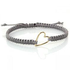 Makramee Armband Love Grau