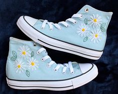Floral Logo Embroidered Converse | Etsy
