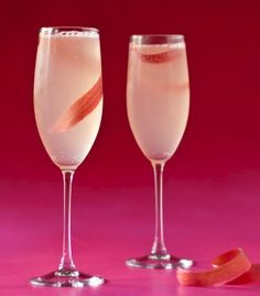 Ms. Piggy:  1 oz. rhubarb-infused tequila*  .5 oz. fresh lemon juice  .5 oz. fresh lime juice  .75 oz. simple syrup  Brut champagne or prosecco  Fresh rhubarb for garnish