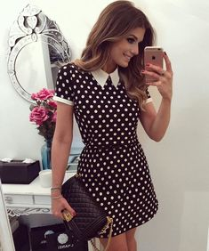 Like a Lady! @arianecanovas arrasando com o nosso vestido de poá ❤️ #fashion #style #look #blogtredalert #arianecanovas #romantic #dress… Classy Outfits, Beautiful Outfits, Cool Outfits, Casual Outfits, Dress Outfits, Casual Dresses, Fashion Outfits, Womens Fashion, Moda Chic