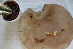 Bijoux fin ,boucles d'oreilles de créatrice en argent massif et laiton doré à l'or fin , pour un style bohème-chic