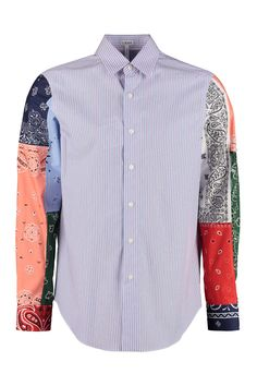 Shop Loewe Cotton Shirt and save up to EXPRESS international shipping! Lots Of Socks, Burberry Plaid, Bandana Print, Modern Man, Vivienne Westwood, Midnight Blue, Paisley, Shirt Dress, Sleeves