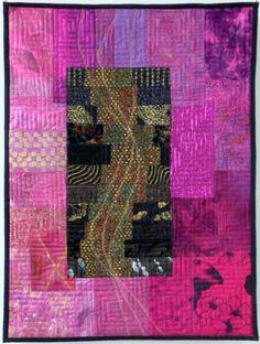 """Inekevanunen Wingelaar quilt """"Orient"""" Asian Quilts, Contemporary Quilts, Art Quilting, Quilting Ideas, Fabric Art, Mixed Media Art, Surface Design, Textile Art, Fiber Art"""
