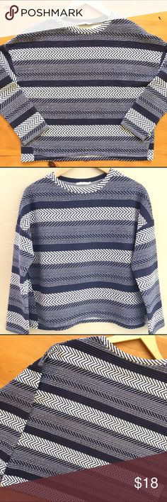 Zara Blue and White Top Great condition wonderful basic 22 in long sleeve 16 in long 21 in bust polyester jersey material no label of material easy care easy wear very cute💕💕 Zara Tops