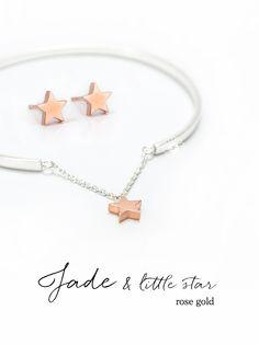 """bracelet JADE and earrings """"little star"""" in rose gold"""