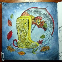 The Autumn rain is just starting to turn to snow! ❄️️ Can't get any good lighting today, but a quick coloring in Rita Berman's Mein Herbst Spaziergang. Done with Faber Castell Albrecht Durer watercolor pencils.  #ritaberman #meinherbstspaziergang #autumn #albrechtdurer #adultcoloringbook #colouring