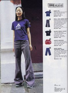 Late 90's Fashion, baggy cargo flares novelty t-shirts. Alloy catalog