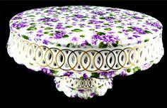 Purple Violets Cake Stand
