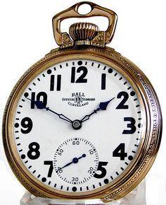 Ball Illinois Gold Filled Railroad Pocket Watch 23 Jewels 16 Size Rare Movement Circa 1928