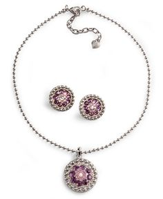 Lightning Ridge Purple Rhinestone Concho Necklace Set