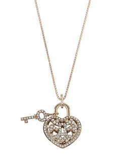 Heart & Key Pendant by Mémoire - From the Lover's Lock collection, this necklace is strung with an 18k rose gold heart-shape lock and key pendant, decorated with diamonds.