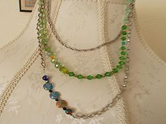 Asymmetrical Glass Bead Necklace $30 http://www.amyshandmadejewelry.com/asymmetrical