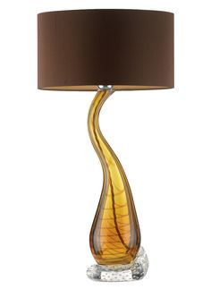 Designer Table Lamp in Amber Brown Art Glass, sharing beautiful designer home decor inspirations: luxury living room, dinning room & bedroom furniture, chandeliers, table lamps, mirrors, wall art, decorative     tabletop & bathroom accents & gifts courtesy of instyle-decor.com Beverly Hills enjoy & happy pinning